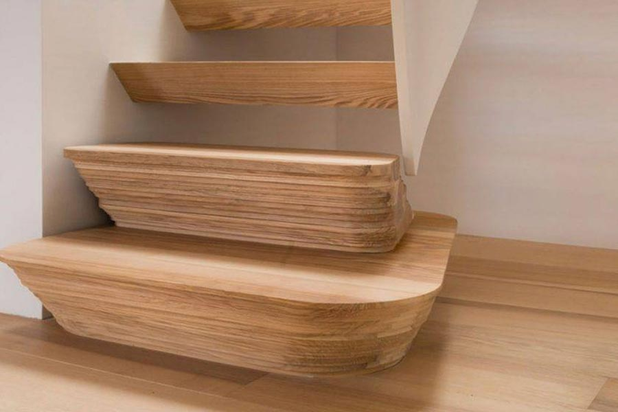 close up of ash stair risers built up with thin layers of ash