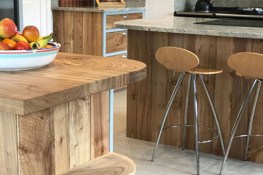 solid elm kitchen worktops and side panels