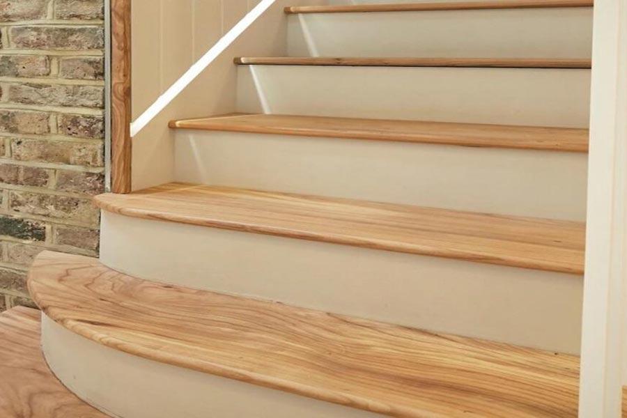 Elm stair treads bottom steps