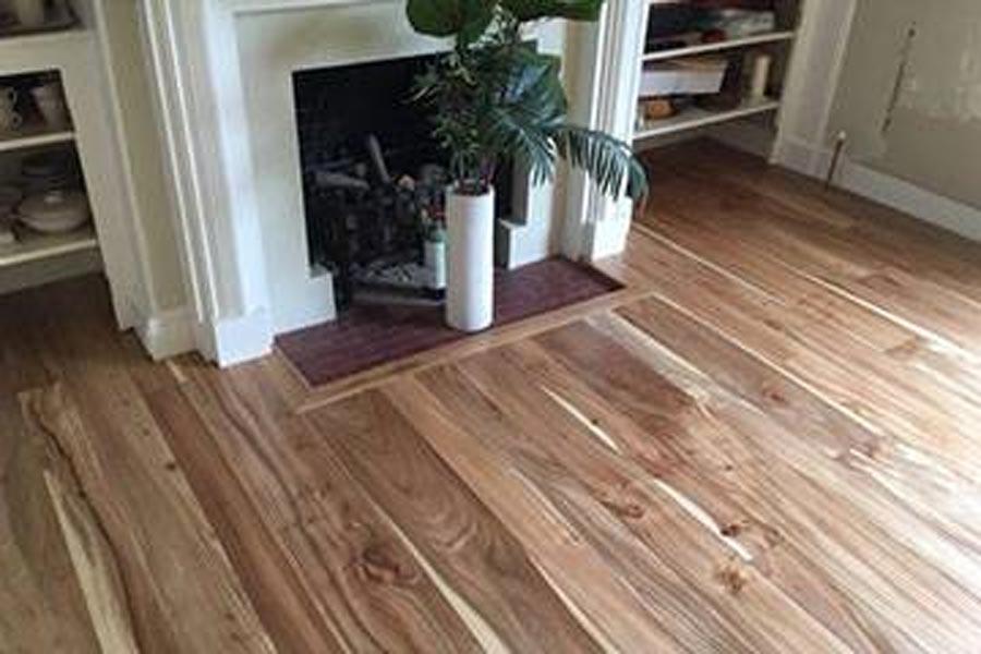 engineered elm floor sitting room fireplace and shelving