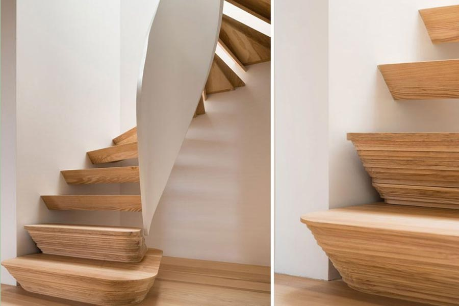 spiral ash staircase and solid ash stair treads
