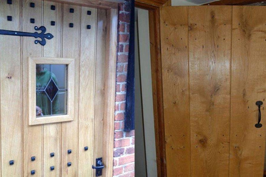 solid oak door fixed width with stained glass window insert solid oak door three boards